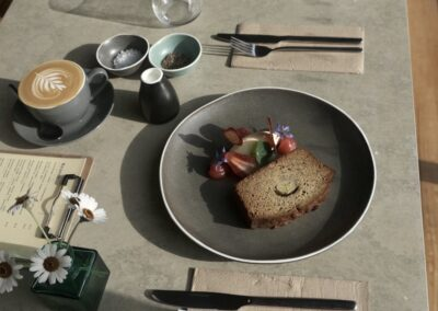 Set table with Banana Bread